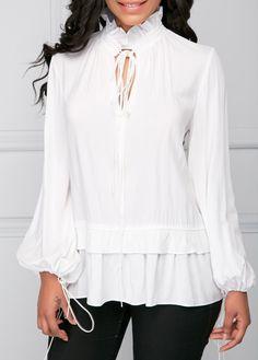 White Tie Neck Lantern Sleeve Blouse on sale only US$30.16 now, buy cheap White Tie Neck Lantern Sleeve Blouse at liligal.com #liligal #blouse #shirts #top #womenswear #womensfashion