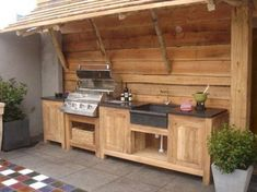 38 The Best Summer Kitchen Outdoor Ideas For Your Backyard Build Outdoor Kitchen, Backyard Kitchen, Summer Kitchen, Outdoor Kitchen Design, Outdoor Cooking, Backyard Patio, Backyard Layout, Simple Outdoor Kitchen, Rustic Outdoor Kitchens