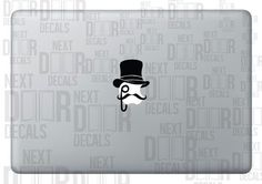 Like a Sir Top Hat and Mustache Apple Macbook Laptop Sticker Decal