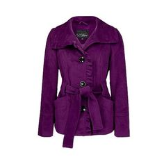 Daytrip Ruffle Placket Coat ($47) ❤ liked on Polyvore featuring outerwear, coats, jackets, purple, tops, women, daytrip, purple coat, belted coat and velour coat