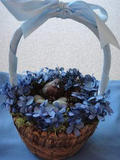 Hydrangea Basket with A Faux Bird & Eggs/Wedding by donnahubbard, $40.00