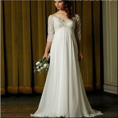 2015 Plus Size Wedding Dresses High Quality White Chiffon with Beadin A Line V Neck 3/4 Sleeve Bridal Gown Sweep Train