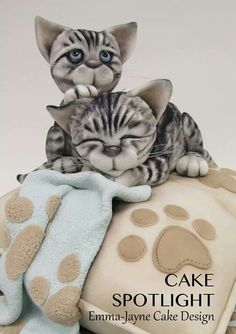 by Emma-Jayne Cake Design Gorgeous Cakes, Pretty Cakes, Amazing Cakes, Kitten Cake, Animal Cakes, Gateaux Cake, Just Cakes, Novelty Cakes, Cake Tutorial