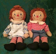 Vintage Original Georgene Raggedy Ann & Andy Dolls w/ Clothes