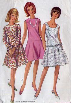 A line drop waist dress pattern | 1960s Vintage Drop Waist Dress Pattern - Simplicity 6539 - Semi ...