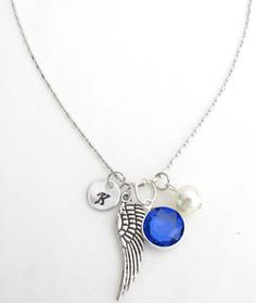 Birthstone Necklace,Personalized Necklace Angel Wing Necklace Mothers Necklace Mom Name Necklace Mom Initial Necklace Free Shipping In USA