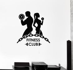 Details about Vinyl Wall Decal Fitness Club Bodybuilding Gym Motivation Sports Mural - Carola Fitness Club, Fitness Logo, Muscle Fitness, Gym Fitness, Cardio Workout At Home, At Home Workouts, Gym Logo, Gym Design, Logo Design