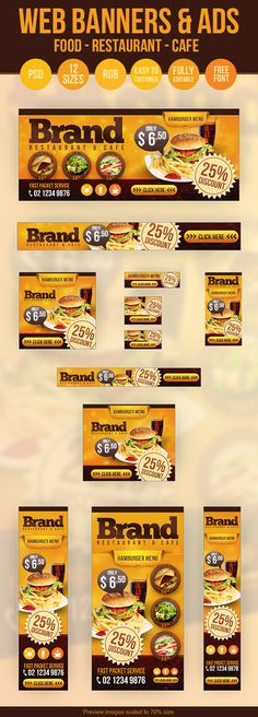 Web Banners & Ads - Restaurant - Cafe - Food by Hüseyin Kayacı, via Behance