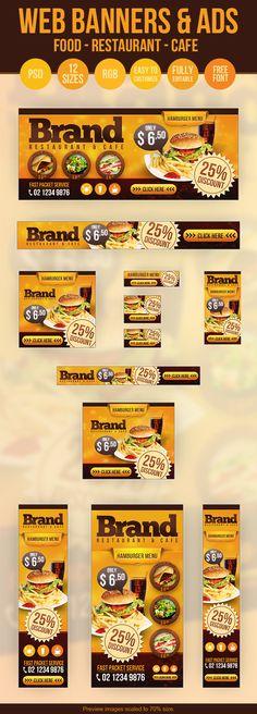 Web Banners & Ads - Restaurant - Cafe - Food by Hüseyin Kayacı, via Behance