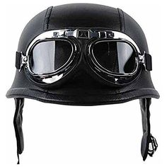 Half Helmet Black Dot Adult German Style added leather protection with goggles Medium