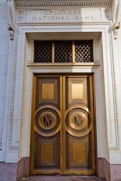 Brass doors, Entrance, Colorado National Bank, Denver, Colorado. IMG_8471 LR Edit by StevenC_in_NYC, via Flickr