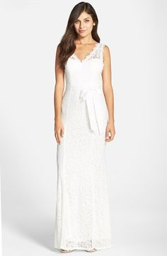 Adrianna Papell Sleeveless Lace Overlay Illusion Gown available at #Nordstrom