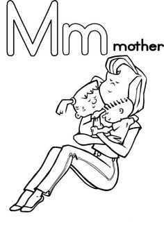 mother from letter m coloring page
