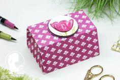 Videoanleitung: Faltschachtel - Nellis Stempeleien Diese schöne Origamibox mit dem Designerpapier Florale Eleganz könnt ihr Euch als PDF Anleitung downloaden oder über Youtube anschauen und mitbasteln. Tranquil Tulips; Stampin' UP!