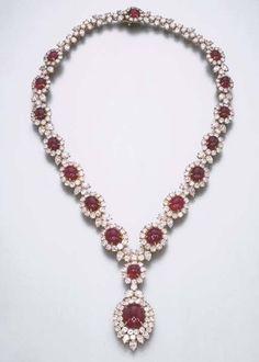 A Fine Ruby and Diamond Pendant Necklace, by Harry Winston Ruby Necklace, Ruby Jewelry, Fine Jewelry, Pendant Necklace, Diamond Necklaces, Diamond Jewellery, Pendant Set, Diamond Pendant, Solitaire Diamond