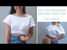 Free crochet crop top pattern and video tutorial. This off the shoulder crochet crop top is perfect for summer!