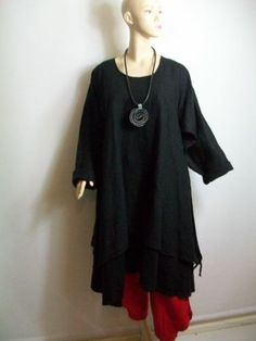 New in Fabulous Double Layer Completo Lino Black Linen Tunic Lagenlook OSFA | eBay