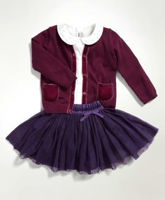 Girls 3 Piece Skirt Outfit Set with Cardigan & Tee