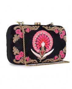 Black Velvet Carnation Motif Clutch- Buy Bags,Karieshma Sarnaa Clutches Online | Exclusively.in