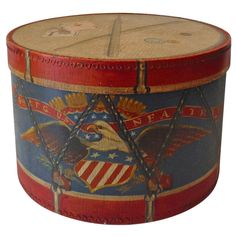 Original Early 20th Century Painted Patriotic Hat or Band Box