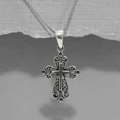 Oxidized Sterling Silver Cross Necklace by ElleAccents on Etsy