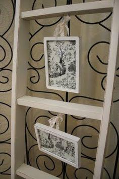 Ladder gallery wall.  Super cute, super inexpensive!   #DIY