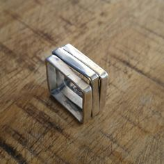 Silver Square Ring Square Silver Ring Mens Ring Square
