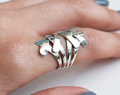 Sterling Zilver draad Ring-Ring-Flat draad Ring-Sterling Zilver-Heavy Ring-ontwerper-Ring-Zilver instructie Ring-grote Ring overlappende