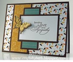 Sending Love and Sympathy card with great lay out and butterfly.