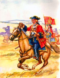"""British 2nd """"Harvey's Horse"""" Dragoon Guards charging into battle, War of the Spanish Succession"""