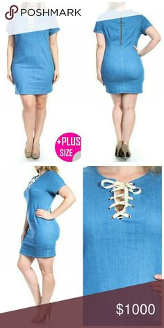 **COMING SOON** Plus Size Denim Dress   Fabric: 68% Cotton 30% Polyester 2% Spandex  Made in USA Dresses Mini