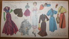 """""""Deborah's clothes for a special occasion,"""" a paper doll by Lucy Eleanor Leary, Boston Sunday Post, 1940-1950s"""