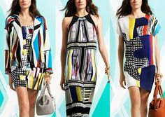Diane Von Furstenberg – Pre Fall 2014-Abstract Pattern Form – Organic meets geometric - Skyscraper Checks – Murano Glass Inspired Prints – Cut Out and Collage – High Contrast Pattern