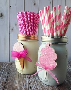 Birthday Party Accessory Set to Accessorize Glass Mason Jar Decor Laser Cut Wood Baby Shower First Birthday