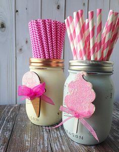 Birthday Party Accessory Set to Accessorize Glass Mason Jar Decor Laser Cut Wood Baby Shower First Birthday