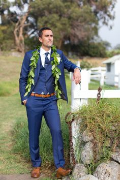 Rustic groom in navy! http://www.stylemepretty.com/2017/04/06/adding-a-tropical-twist-to-a-rustic-ranch-wedding/ Photography: The Vondys - https://www.thevondys.com/