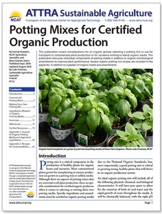 Need information about potting mixes for use in transplant or containerized organic plant production? Here you go! Newly updated by ATTRA specialist Luke Freeman. #attra #ncat #sustainableagriculture