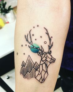 Geometrical deer tattoo by kyra bak •be your tattoo budapest