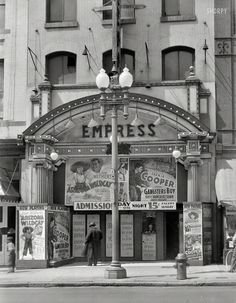 """July 1939. """"Theatre on 9th Street. Washington, D.C."""" Large format nitrate negative by David Myers."""