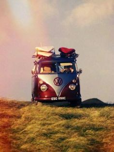 VW Camper Van with Surf Boards on Roof by Ron Fisher Transportation Photographic Print - 46 x 61 cm Volkswagen Transporter, Auto Volkswagen, Vw T1, Vw Caravan, Bus Camper, Campers, Jeep Carros, Vespa, Vans Vw