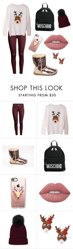 """""""Maroon Christmas"""" by manibby12 ❤ liked on Polyvore featuring Moschino, Casetify, Lime Crime and claire's"""