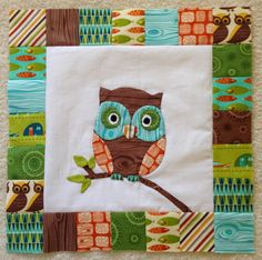 adorable appliquéd owl, by cynthia horst, on the dream quilt create blog, full tutorial on how to make the design with freezer paper!