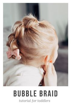 easy bubble pony braid tutorial for toddler girls / toddler hairstyle ideas / short toddler hair ideas for fine/thing hair on little girls / easy hair back tutorial / bubble braid how to