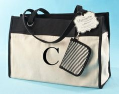 """Kensington"" Personalized Reversible Tote with Wristlet -Getting this for my bridesmaids"