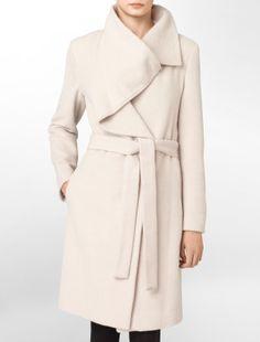drapey wool blend belted coat - jackets + outerwear- Calvin Klein