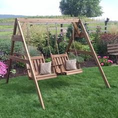 A & L Furniture Western Red Cedar A-Frame Swing Stand for Swing or Swing Bed - 804C-CEDAR STAIN
