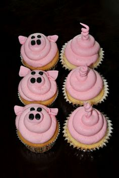 Sweet Cakes: Pig Cupcakes [for Peppa Pig themed party] Pig Roast Party, Pig Party, Farm Party, Pig Cupcakes, Cupcake Cakes, Barnyard Cupcakes, Farm Animal Cupcakes, Peppa Pig Cupcake, Cup Cakes