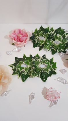 Jeweled Green and White Leaf Mask Ivy Accessory by pearlsandtulle
