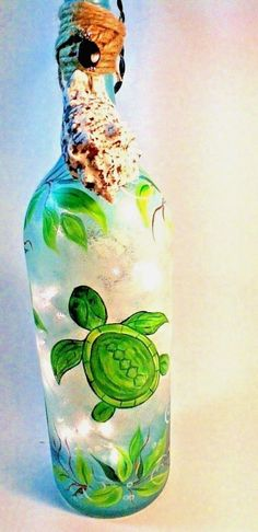 Decorative Painted  Lighted Wine Bottle with a Sea Turtle and Sea Grass Design…