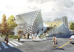 ying yang public library by evgeny markachev + julia kozlova via designboom